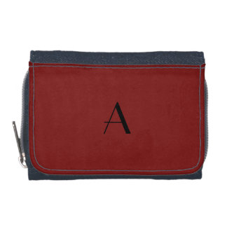Dark Falu Red Denim Wallet w/ Black Monogram