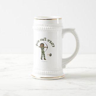 Dark Female Archery in Camouflage Mug