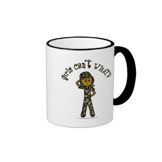 Dark Female Army Girl Ringer Coffee Mug