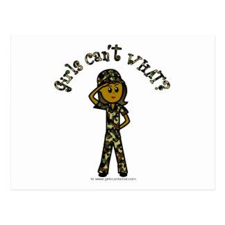 Dark Female Army Girl Postcard