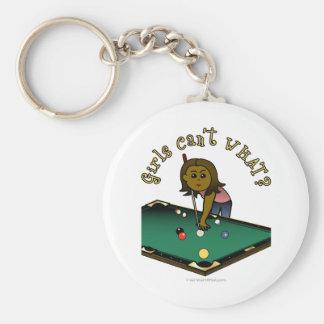 Dark Female Billiards Player Keychains