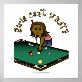 Dark Female Billiards Player Print