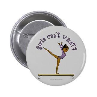 Dark Female Gymnast on Balance Beam Pinback Buttons