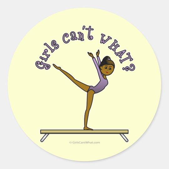 Dark Female Gymnast on Balance Beam Classic Round Sticker