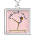 Dark Female Gymnast on Balance Beam Custom Jewelry