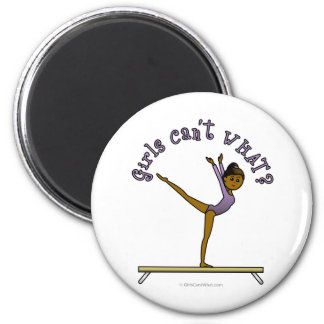 Dark Female Gymnast on Balance Beam 2 Inch Round Magnet