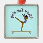 Dark Female Gymnast on Balance Beam Ornaments