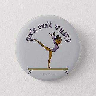 Dark Female Gymnast on Balance Beam Pinback Button
