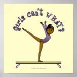 Dark Female Gymnast on Balance Beam Poster