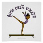Dark Female Gymnast on Balance Beam Posters