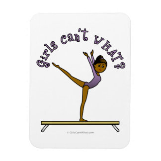 Dark Female Gymnast on Balance Beam Rectangular Photo Magnet