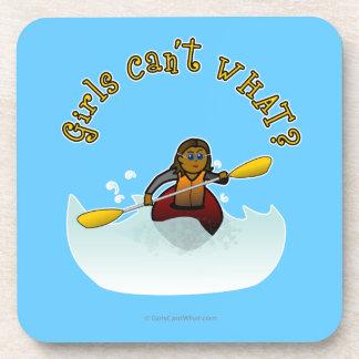 Dark Female Kayaker Beverage Coaster