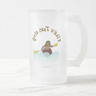 Dark Female Kayaker Frosted Glass Beer Mug