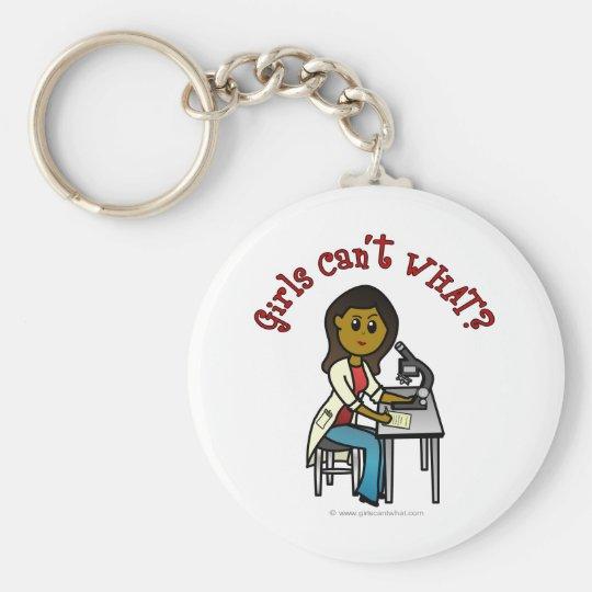 Dark Female Scientist Keychain