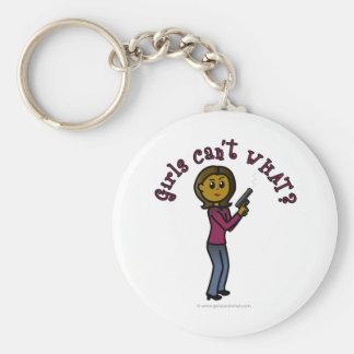 Dark Female Sharpshooter Basic Round Button Keychain