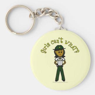 Dark Female Sheriff in Green Uniform Key Chain