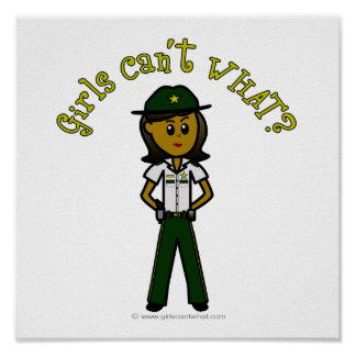 Dark Female Sheriff in Green Uniform Poster