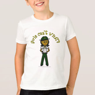 Dark Female Sheriff in Green Uniform T-Shirt