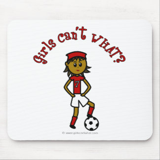 Dark Female Soccer Player in Green Uniform Mouse Pad