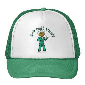 Dark Female Surgeon in Green Scrubs Mesh Hats