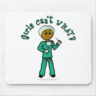 Dark Female Surgeon in Green Scrubs Mouse Pads