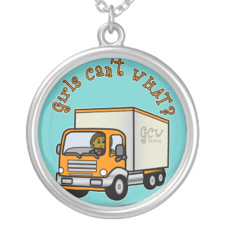 Dark Female Truck Driver Silver Plated Necklace