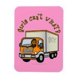Dark Female Truck Driver Vinyl Magnet