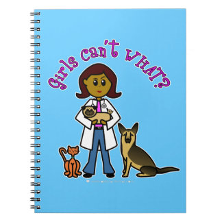 Dark Female Veterinarian Notebook