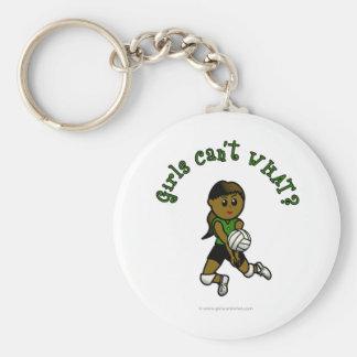 Dark Female Volleyball Player in Green Uniform Keychain