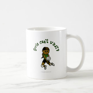 Dark Female Volleyball Player in Green Uniform Coffee Mug