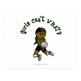 Dark Female Volleyball Player in Green Uniform Postcard