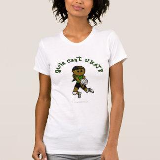 Dark Female Volleyball Player in Green Uniform T-Shirt