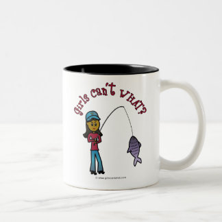 Dark Fishing Girl Two-Tone Coffee Mug