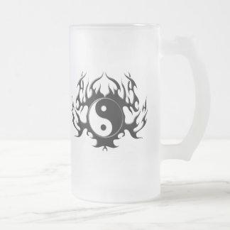 Dark Flame Yin-Yang Frosted Glass Beer Mug