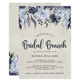 Dark Floral and White Wood | Bridal Brunch Card
