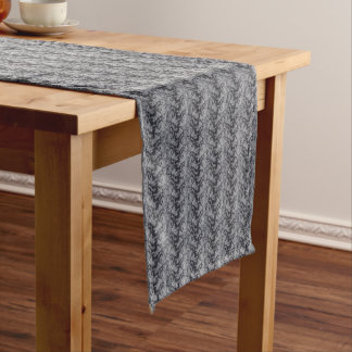 Dark Floral Fine Lace Texture Table Runner