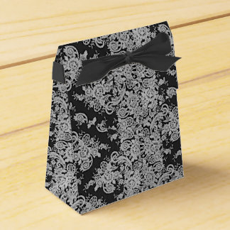 Dark Floral Fine Lace Texture Wedding Favor Box