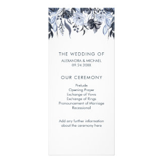Dark Floral | Modern Watercolor Wedding Program