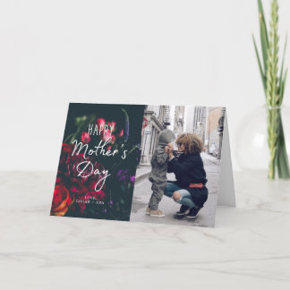 Dark Floral Mother's Day Photo Card