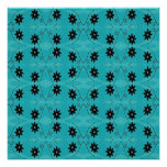 dark floral on turquoise poster