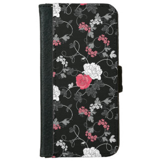 Dark Floral Pattern Wallet Phone Case For iPhone 6/6s