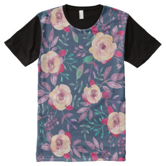 Dark Floral Pattern with pink and turquoise flower All-Over Print Shirt