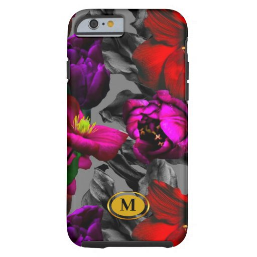 Dark floral purple monogram dream tough iPhone 6 case
