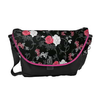 Dark Floral Sketch Messenger Bag