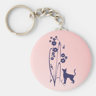 Dark Flowers and Kitty Design Keychain
