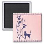 Dark Flowers and Kitty Design Magnet