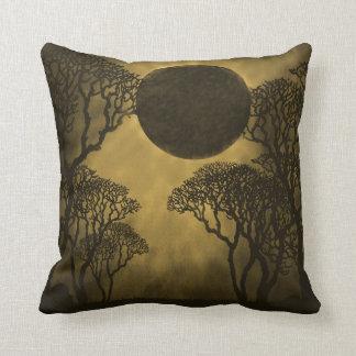 Dark Forest Eclipse Pillow, Gold Pillow