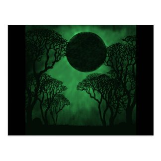 Dark Forest Eclipse Postcard, Green Postcard
