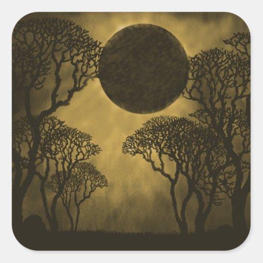 Dark Forest Eclipse Square Stickers, Golden