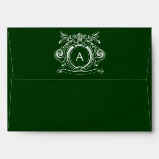 Dark Forest Green A7 Scrollwork Monogram Envelopes